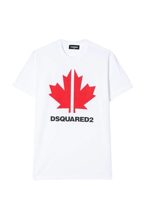 White teen t-shirt with red press Dsquared2 kids DSQUARED2 KIDS | 8 | DQ03WDD00X4DQ10NT