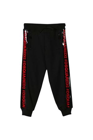 Black trousers with red side band with logo Dsquared2 kids DSQUARED2 KIDS | 9 | DQ03XSD00Y0DQ900