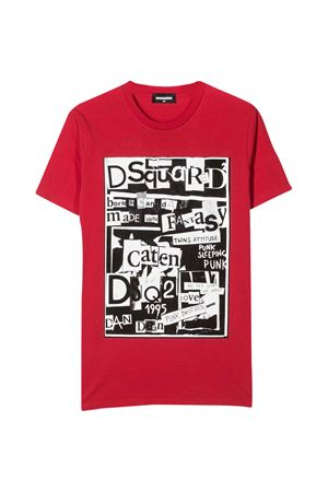 Red teen t-shirt with press DSQUARED2 kids DSQUARED2 KIDS | 8 | DQ03XWD00W5DQ411T