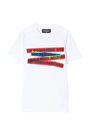 White teen t-shirt with multicolor press Dsquared2 kids DSQUARED2 KIDS | 8 | DQ03XYD00MQDQ100T