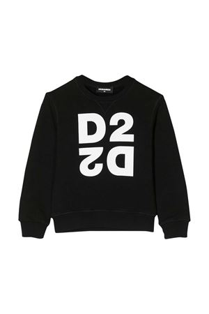 Black sweatshirt with white logo Dsquared2 kids DSQUARED2 KIDS | -108764232 | DQ041QD00XLDQ900