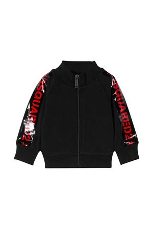Black sweatshirt with frontal zip DSQUARED2 kids DSQUARED2 KIDS | -108764232 | DQ042VD00Y0DQ900