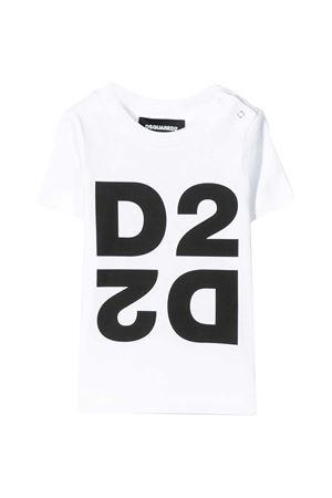 White baby t-shirt with black logo Dsquared2 kids DSQUARED2 KIDS   8   DQ044HD00XMDQ100