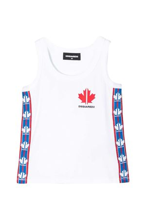 White teen tank top with blue and red band Dsquared2 kids DSQUARED2 KIDS | 485524886 | DQ0462D00X4DQ100T