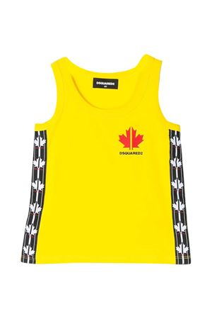 Yellow teen tank top with side band Dsquared2 kids DSQUARED2 KIDS | 485524886 | DQ0462D00X4DQ205T