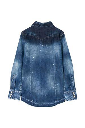 Blue denim shirt with white