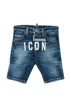 Blue teen denim shorts with white