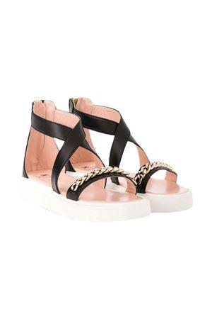 Black sandals with golden chain Elisabetta Franchi La Mia Bambina ELISABETTA FRANCHI LA MIA BAMBINA | 12 | 64213VAR2