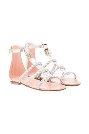 Silver sandals with crossed straps Elisabetta Franchi La Mia Bambina ELISABETTA FRANCHI LA MIA BAMBINA | 12 | 64221VAR3