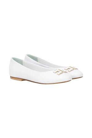 White teen ballet shoes with logo Elisabetta Franchi La Mia Bambina ELISABETTA FRANCHI LA MIA BAMBINA | 12 | 64235VAR1T