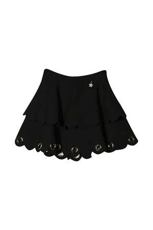 Black flared skirt with eyelets Elisabetta Franchi La Mia Bambina ELISABETTA FRANCHI LA MIA BAMBINA | 5032322 | EFGO77GA37VE0220092