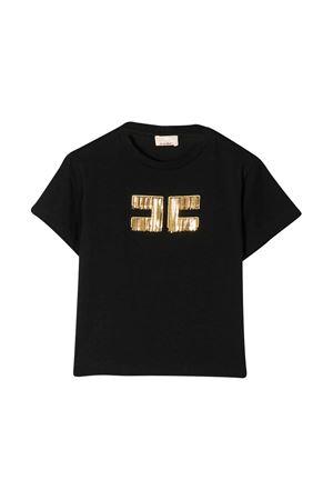 Black t-shirt with frontal golden logo Elisabetta Franchi La Mia Bambina ELISABETTA FRANCHI LA MIA BAMBINA | 8 | EFTS98JE95BVE0040017