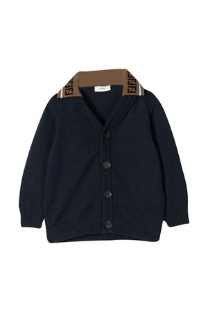 Blue cardigan with logo Fendi kids FENDI KIDS | 39 | BMG085AASLF0QB0