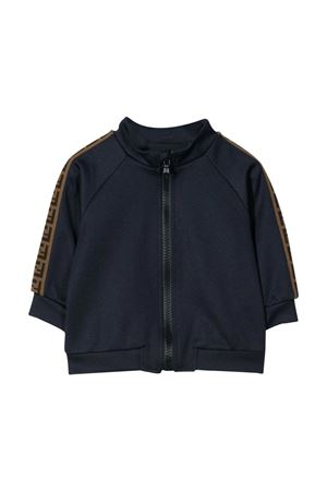 Blue sweatshirt with zip and side bands with logo Fendi kids FENDI KIDS | -108764232 | BUH018A69DF0QB0