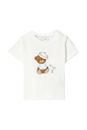 White t-shirt with frontal press Fendi kids FENDI KIDS | 8 | BUI009ST8F0YC8