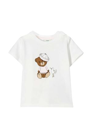 White and pink t-shirt with frontal press Fendi kids FENDI KIDS | 8 | BUI009ST8F0YT7