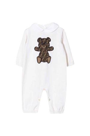 White romper with Teddy Bear press Fendi kids FENDI KIDS | 1491434083 | BUL034A3TEF0TU9
