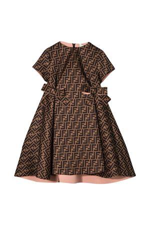 Brown dress with logo trama Fendi kids FENDI KIDS | 11 | JFB312A8LGF0EV6