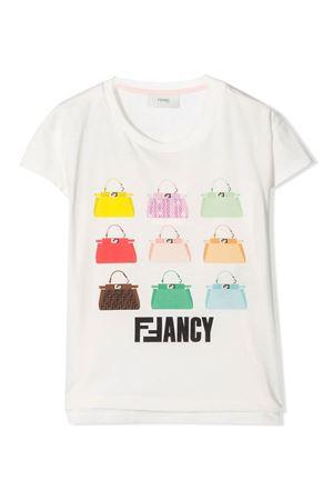 White teen t-shirt with multicolor press Fendi kids FENDI KIDS | 8 | JFI1917AJF0TU9T