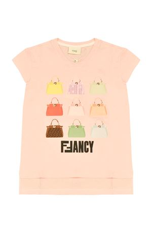 Pink t-shirt with multicolor press Fendi kids FENDI KIDS | 8 | JFI1917AJF16WG
