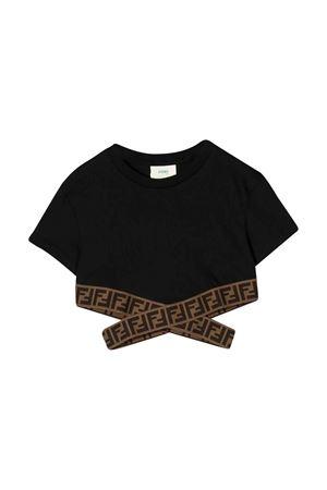 T-shirt nera con orlo elasticizzato Fendi kids FENDI KIDS | 8 | JFI1947AJF0QA1
