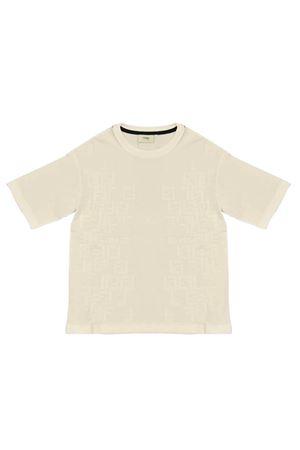 White t-shirt with logo trama Fendi kids FENDI KIDS | 8 | JMI3037AJF0TU9