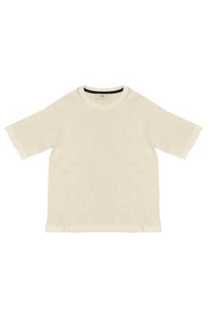 White teen t-shirt with logo trama Fendi kids FENDI KIDS | 8 | JMI3037AJF0TU9T