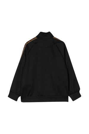 Black sweatshirt with lateral bands Fendi kids FENDI KIDS | -108764232 | JUH011A69DF0GAR