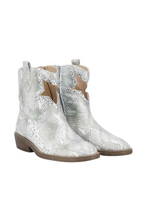 Silver snake skin printed teen boots Florens kids FLORENS KIDS | 12 | K144557AT