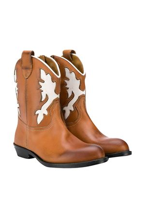 Gallucci kids white and brown boots  Gallucci | 76 | J30080AMCUOIOBIANCO