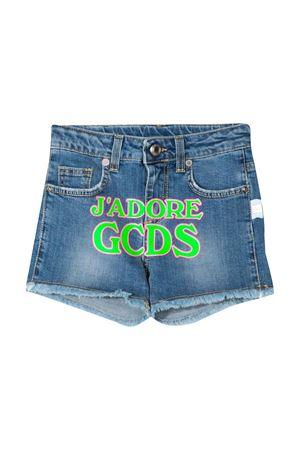 Denim shorts with green press GCDS kids GCDS KIDS | 30 | 023987200