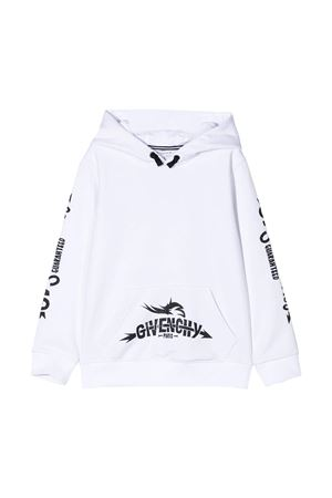 White sweatshirt with black press and hood Givenchy kids Givenchy Kids | -108764232 | H2517110B