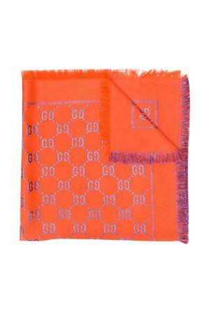 Scialle arancio e viola con ricamo GG Gucci kids GUCCI KIDS   1375490853   5747424K7217570