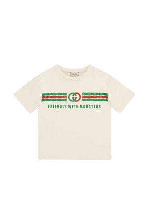T-shirt bianca con stampa frontale Gucci kids GUCCI KIDS | 8 | 575114XJB5B9521