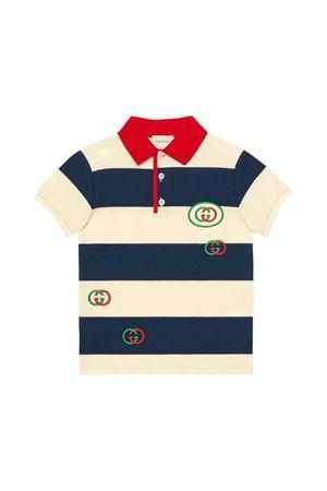 Polo blu e bianca con dettagli rossi e loghi Gucci kids GUCCI KIDS   2   591434XJB3N4123