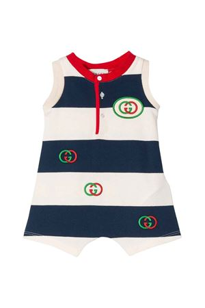 White and blue dress with logos and red details Gucci kids GUCCI KIDS | 11 | 591447XJB3N4123