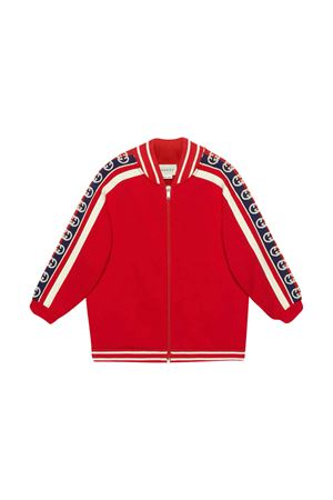 Felpa rossa con fasce logate Gucci Kids GUCCI KIDS | -108764232 | 591492XJB4G6010
