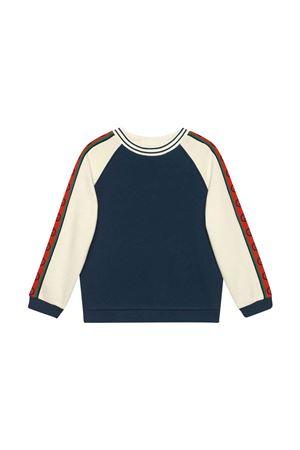 Felpa blu e bianca con bande rosse logate Gucci kids GUCCI KIDS | -108764232 | 591497XJB4P4643