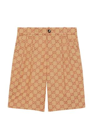 Beige bermuda shorts with logo trama Gucci kids GUCCI KIDS | 30 | 591622XWAGX9559