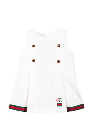 White dress with frontal buttons and logo Gucci kids GUCCI KIDS | 11 | 596275XJBL29061