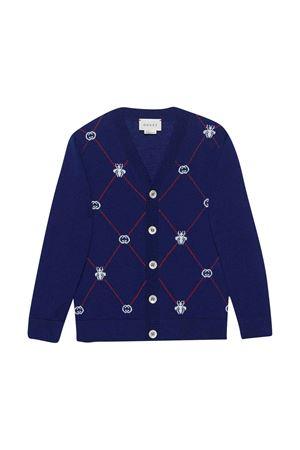 Cardigan cobalto con righe rosse Gucci kids GUCCI KIDS | 39 | 599105XKA5Z4589