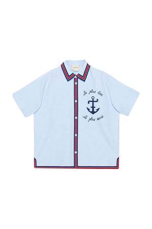 Camicia celeste con ricamo frontale Gucci kids GUCCI KIDS | 5032334 | 600371XWAHO4850