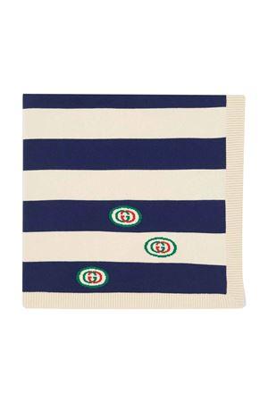 Scialle blu-avorio con logo Gucci kids GUCCI KIDS   1375490853   6038223K1114278