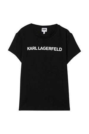 T-shirt teen nera con logo frontale karl Lagerfeld kids Karl lagerfeld kids | 8 | Z1522209BT