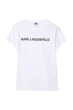 T-shirt bianca teen con stampa logo frontale arl Lagerfeld kids Karl lagerfeld kids | 8 | Z1522210BT