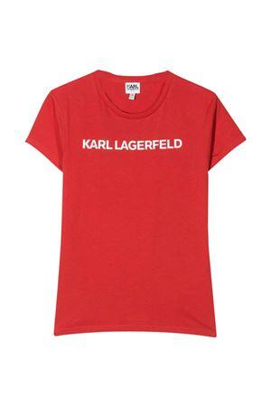T-shirt rossa teen con stampa logo frontale Karl Lagerfeld kids Karl lagerfeld kids | 8 | Z15222988T