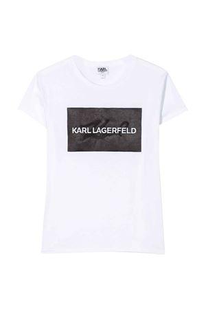 T-shirt bianca con stampa frontale logo karl Lagerfeld kids Karl lagerfeld kids | 8 | Z1523210B