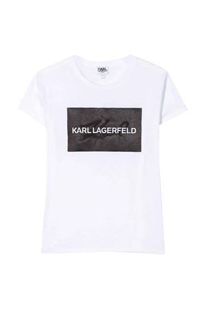T-shirt bianca teen con stampa frontale logo Karl Lagerfeld kids Karl lagerfeld kids | 8 | Z1523210BT