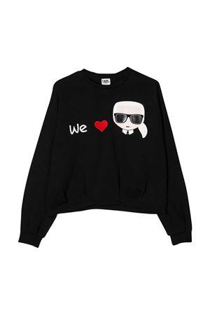Felpa nera We Love Karl con logo ricamato Karl Lagerfeld kids Karl lagerfeld kids | -108764232 | Z1523509B