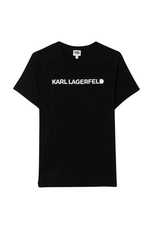 T-shirt nera teen con stampa logo Karl Lagerfeld kids Karl lagerfeld kids | 8 | Z2521909BT